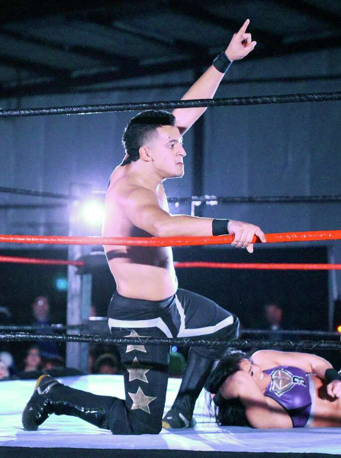 LWA's Ricky Swayze teamed with Rok-C Saturday as they took on Daga and Tessa Blanchard. Photo: Danny Zaragoza /Laredo Morning Times