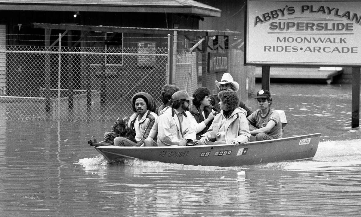 Residents move around by boat as flooding hit Guerneville in 1981.