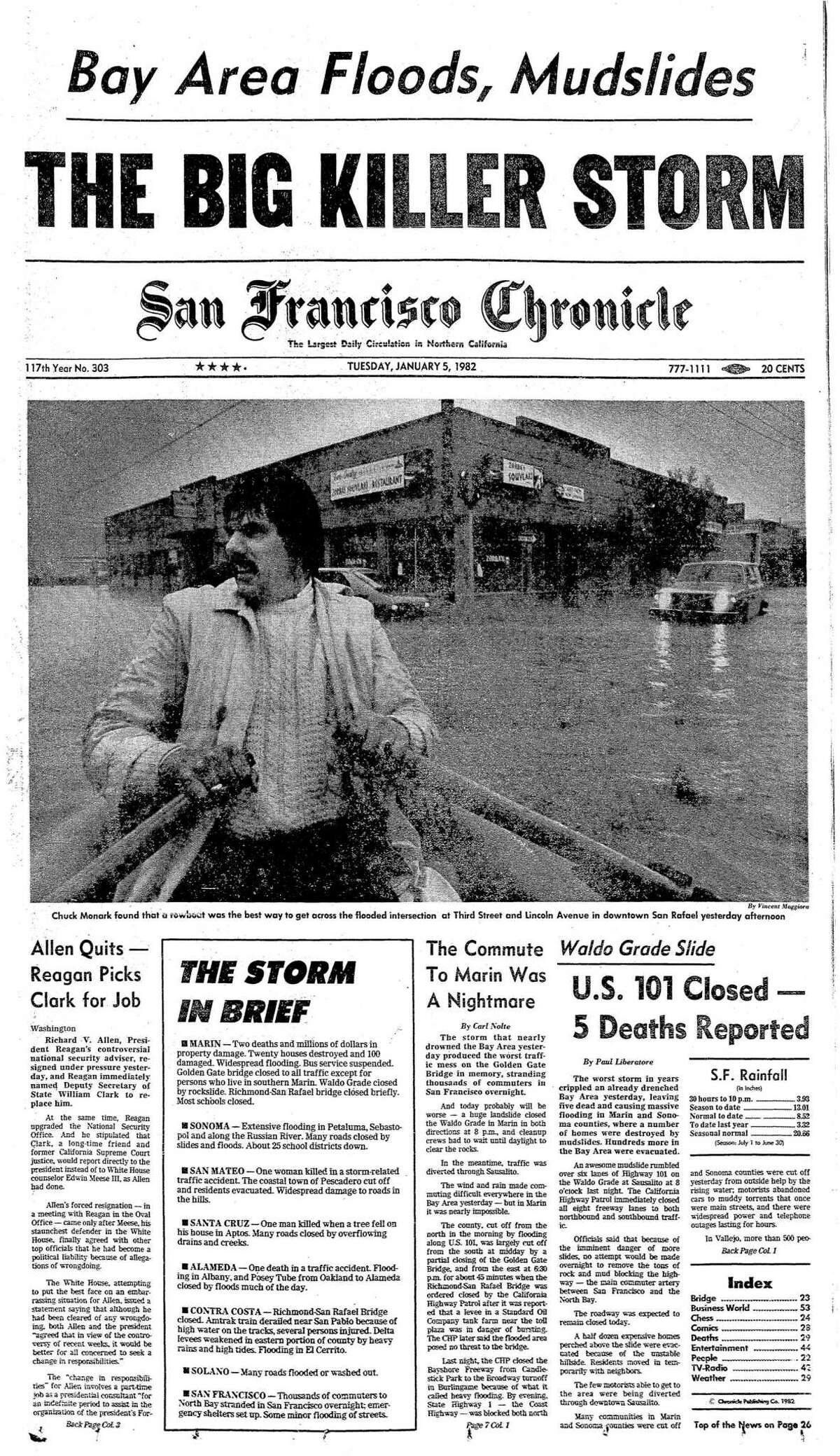 Front page-coverage from Jan. 5, 1982, of the storm hitting the Bay Area.
