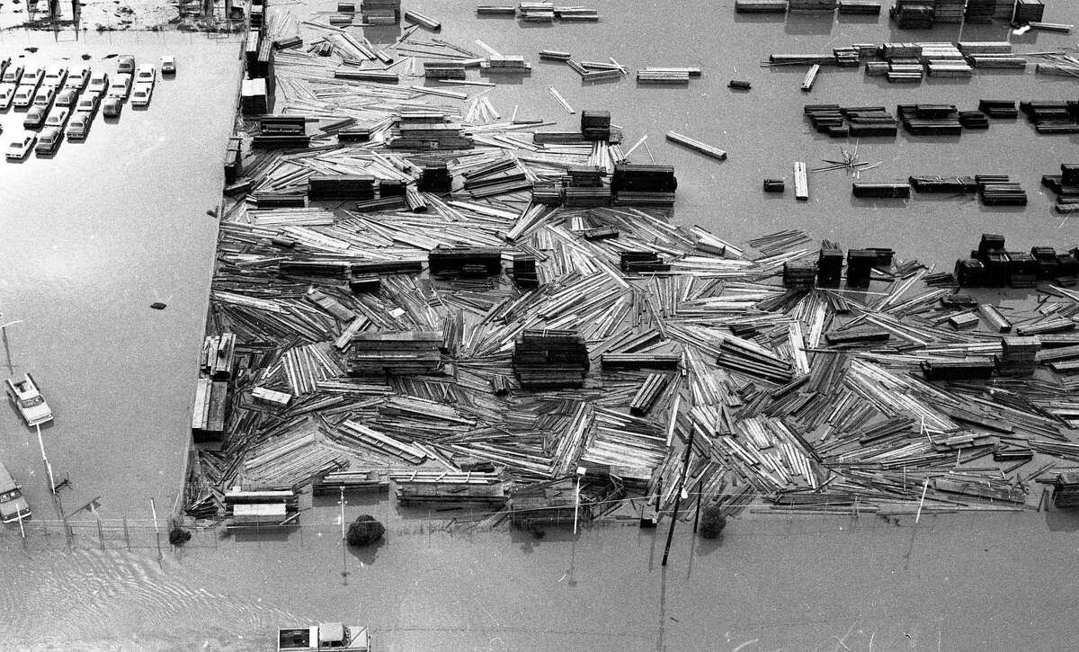 A flooded lumberyard in San Rafael on Jan. 5, 1982.
