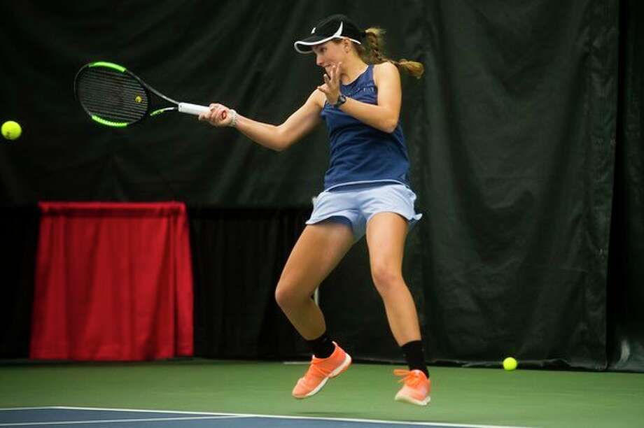 Ellie Coleman, shown here competing in an exhibition doubles match in last year's Dow Tennis Classic, returns to compete in the tournmant for a second straight year. (Katy Kildee/kkildee@mdn.net)