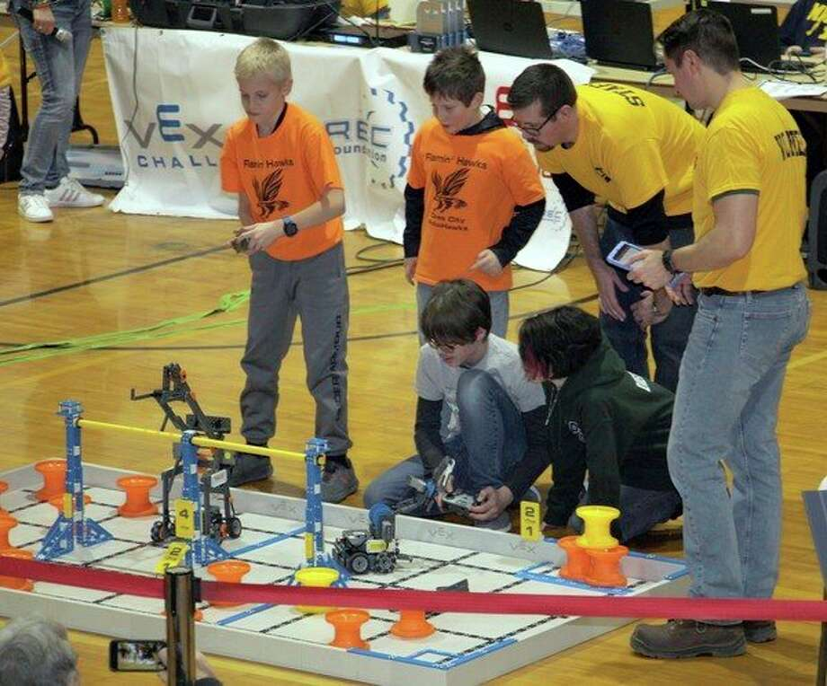Teams from all over the Thumb recently came to Bad Axe for a VEX Robotics Tournament. The event featured more than 70 qualifiers in the round leading up to the finals. (Kate Hessling/Huron Daily Tribune)