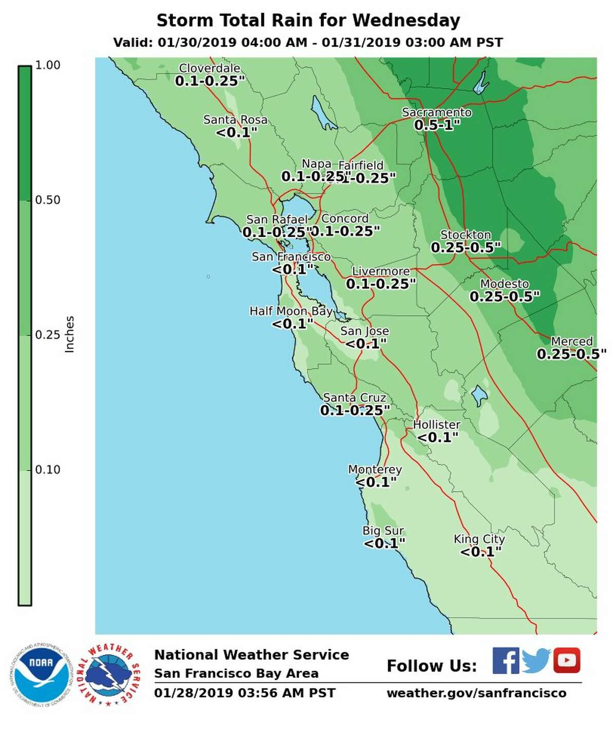 National Weather Service forecast: storm total rain for Jan. 30, 2019