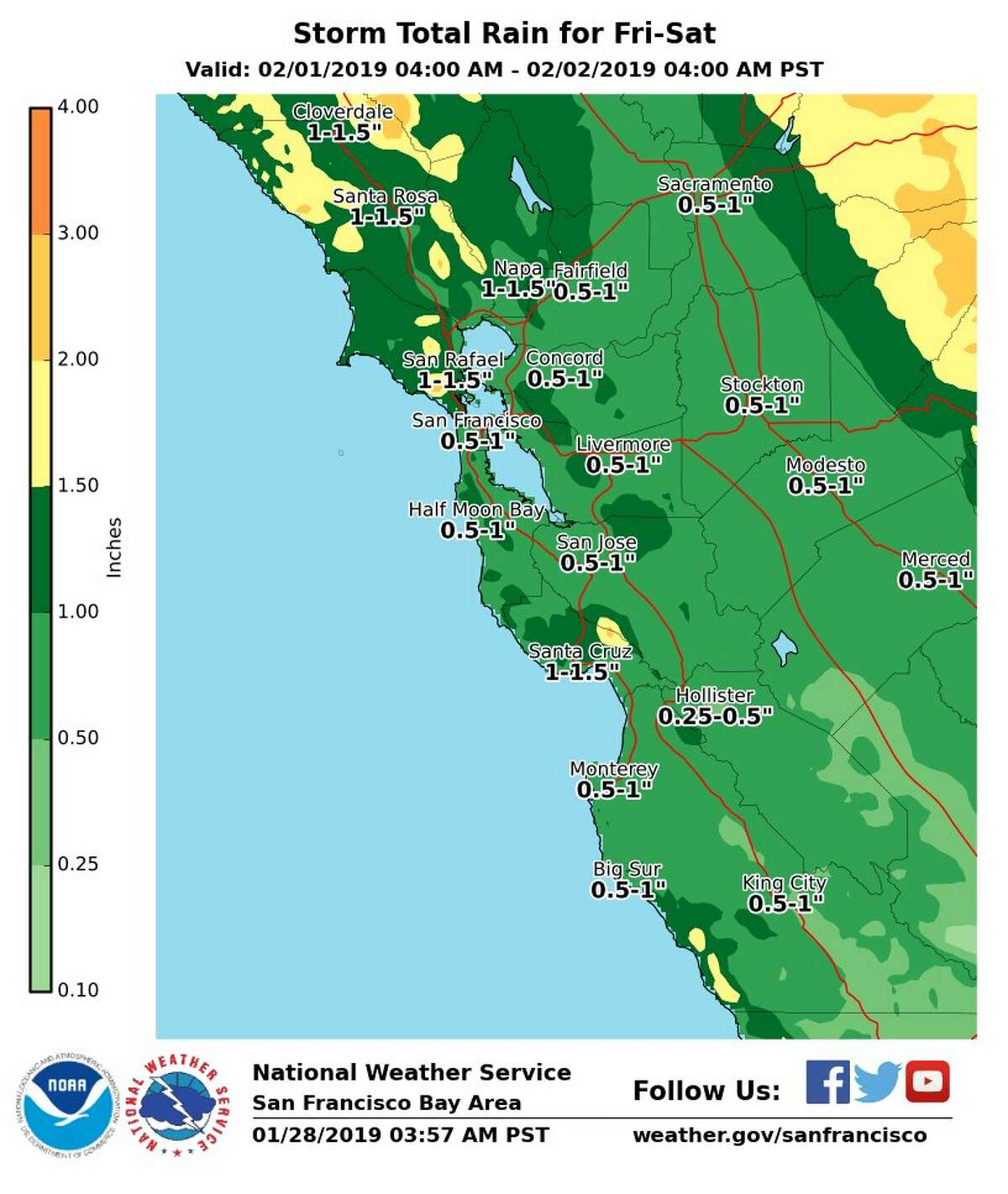 National Weather Service forecast: storm total rain for Feb. 1-Feb. 2, 2019.