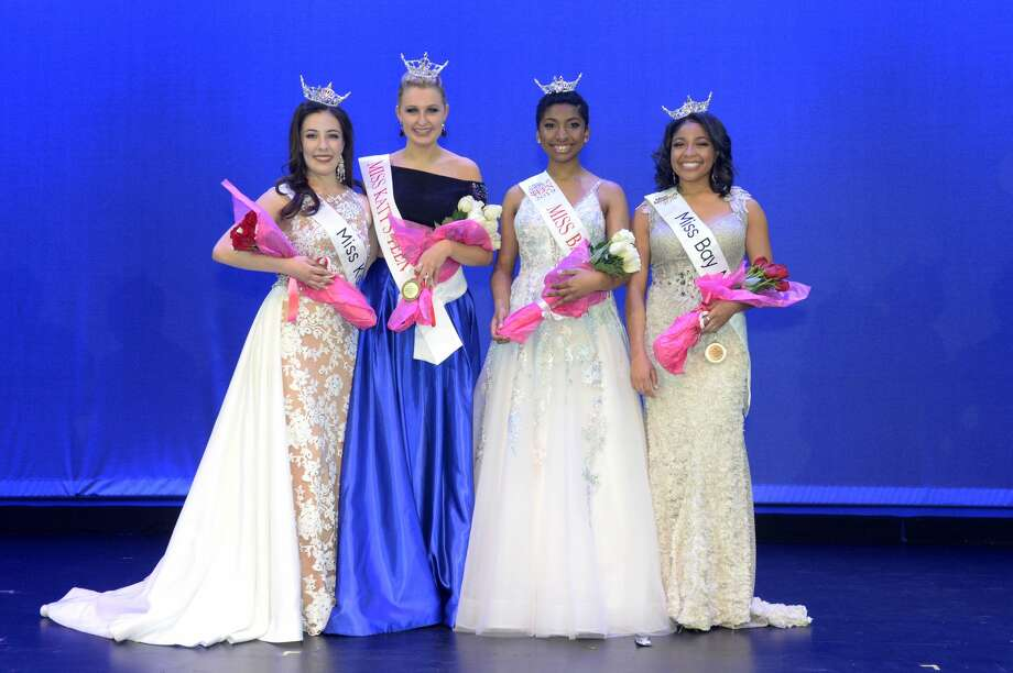 Cassidy Scott, left, was crowned Miss Katy, Hayden Wright, left-center, was crowned Miss Katy Outstanding Teen, Sasha Burford, right-center, was crowned Miss Bay Area Outstanding Teen, and Marissa Murdock, right, was crowned Miss Bay Area and at the Midtown Arts and Theater Center in Houston, on Saturday, January 26, 2019. Photo: Craig Moseley/Staff Photographer
