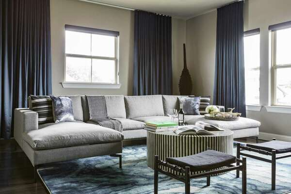 1of17To Manage Acoustics In This Media Room With Tall Ceilings, Interior  Designer Nina Magon Of Contour Interior Design Hung Lined Draperies And  Added A Rug ...