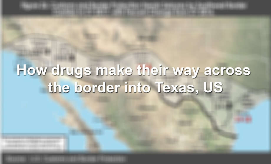 Maps and charts show how drugs make their way across the border into Texas and US. Photo: US Customs And Border Protection & DEA
