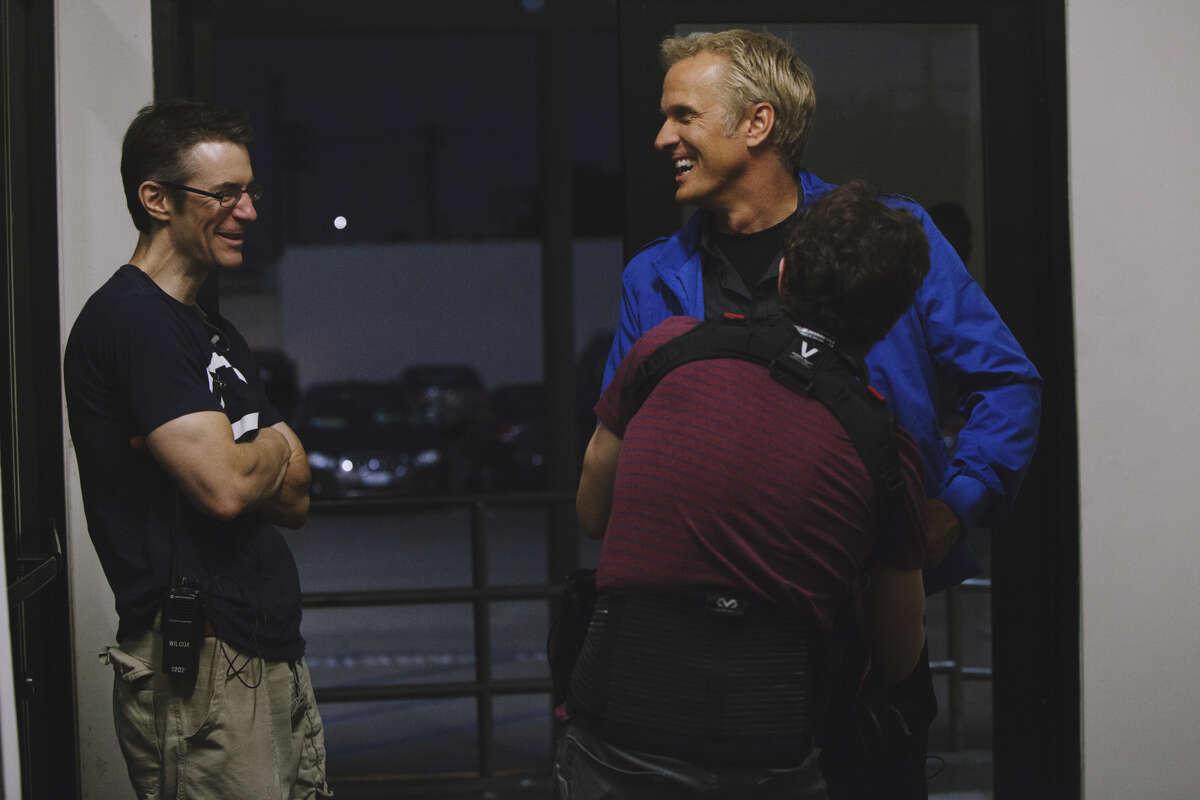 Producer Mark Stolaroff and actor Patrick Fabian on the set of 'DriverX.'