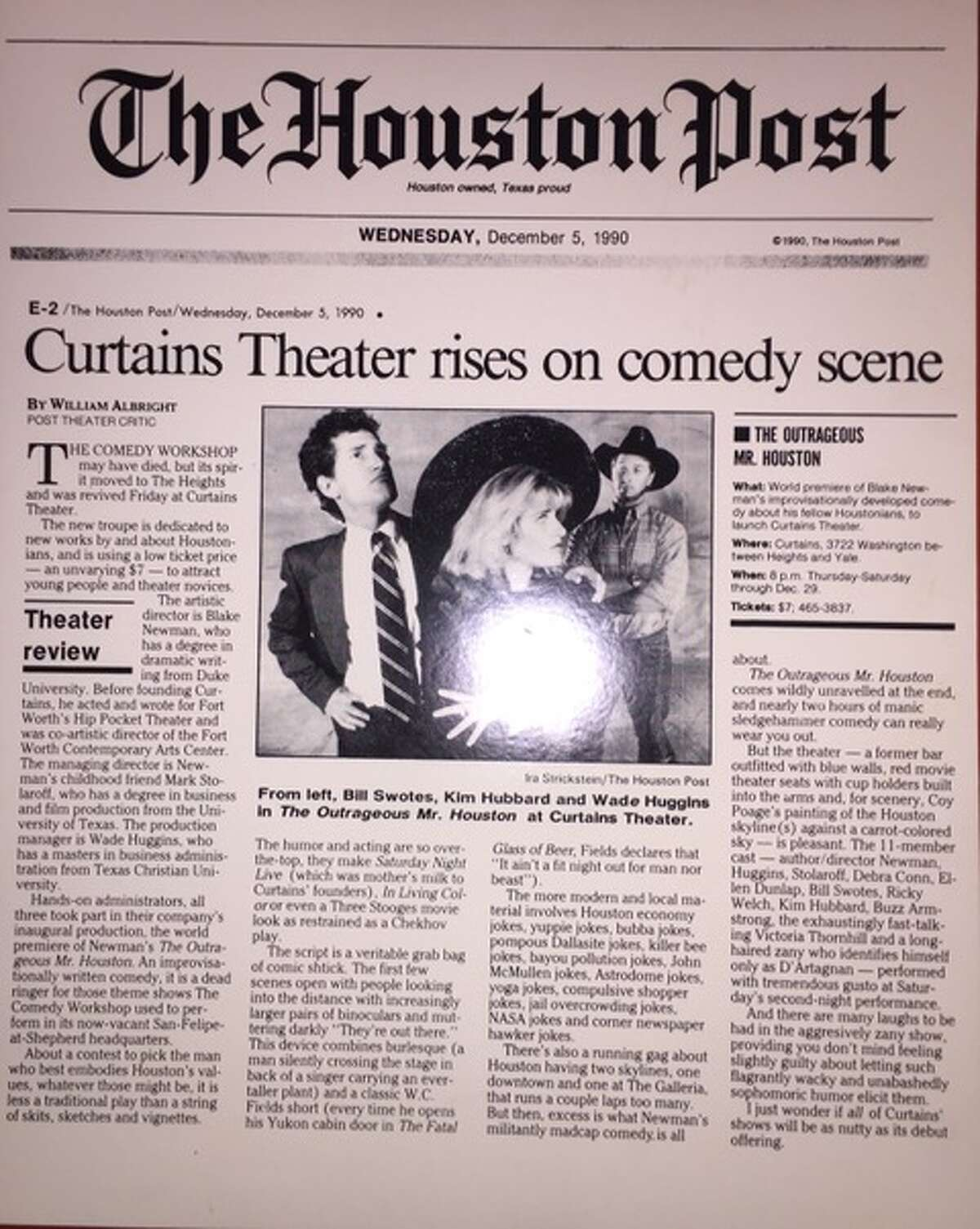 An old Houston Post clipping about the Curtains Theater which Mark Stolaroff co-founded.