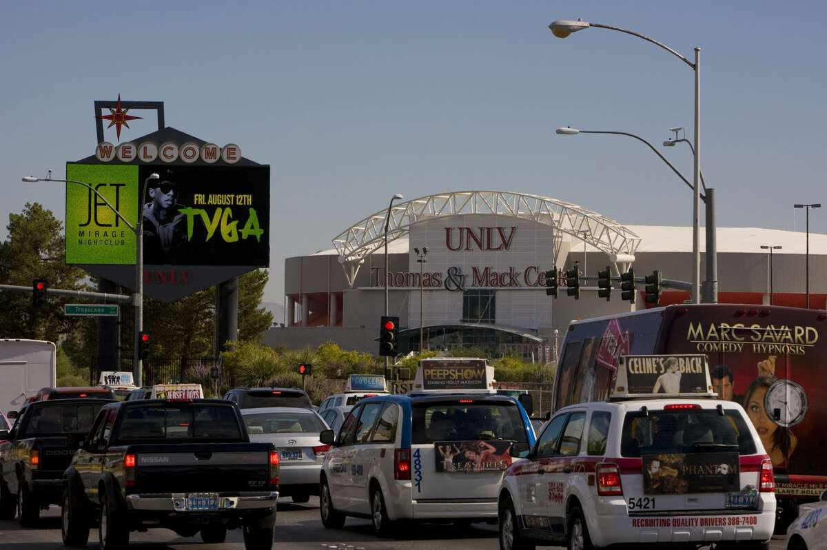 Heavy traffic on Tropicana Blvd near McCarran International Airport and the University of Nevada is seen on August 12, 2011, in Las Vegas, Nevada.