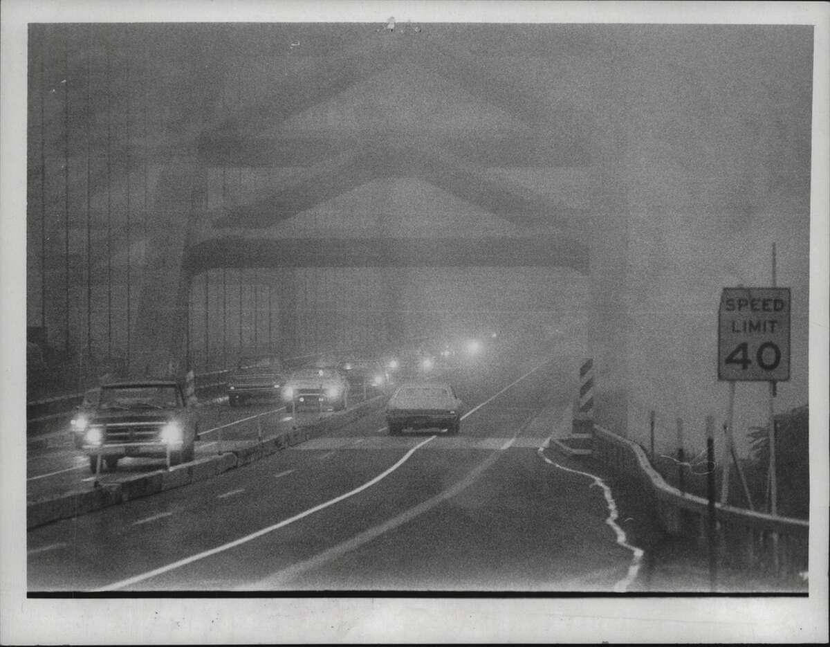 Fog on the Twin Bridges is nothing new. Here's shot of fog shrouding bridges on Sept. 18, 1978 (Paul D. Kniskern Sr./Times Union Archive)