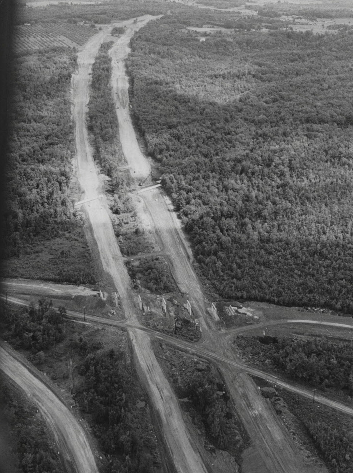 Aerial view of Northway interstate in Saratoga, New York. August 1961.