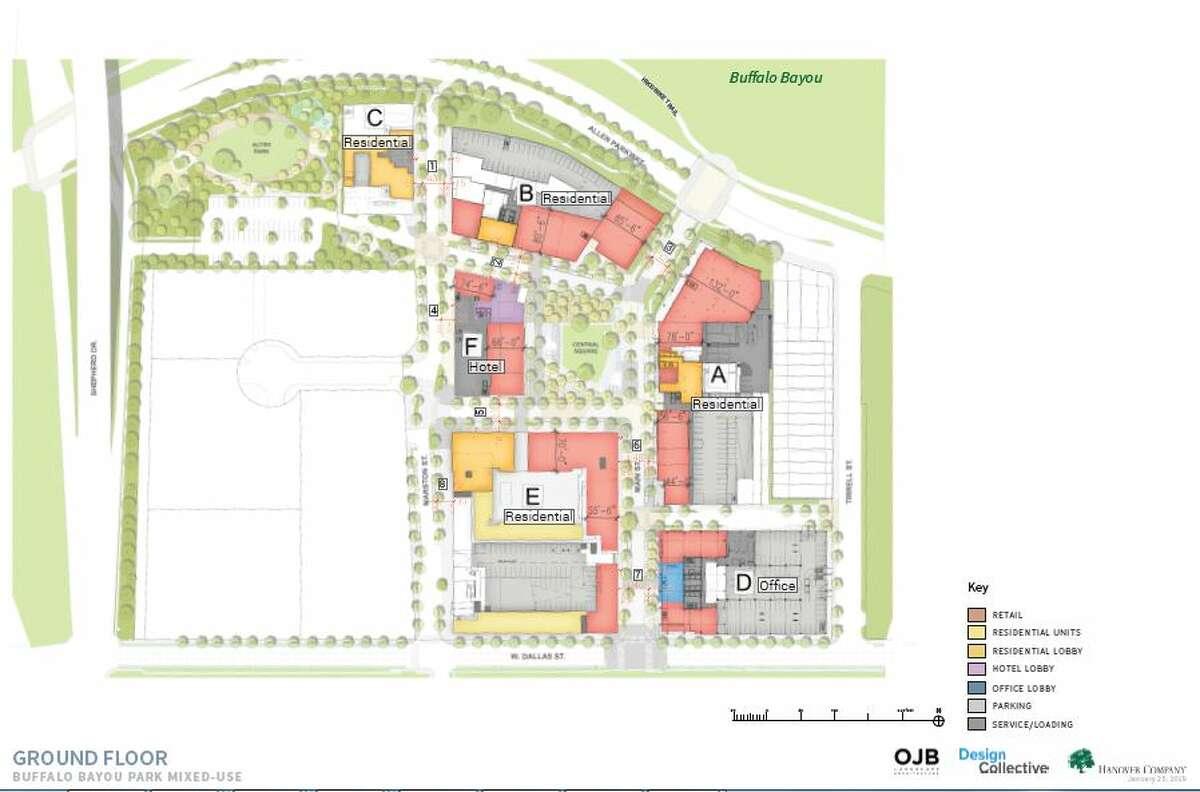 A site plan shows a mixed-use development proposed along Buffalo Bayou Park.