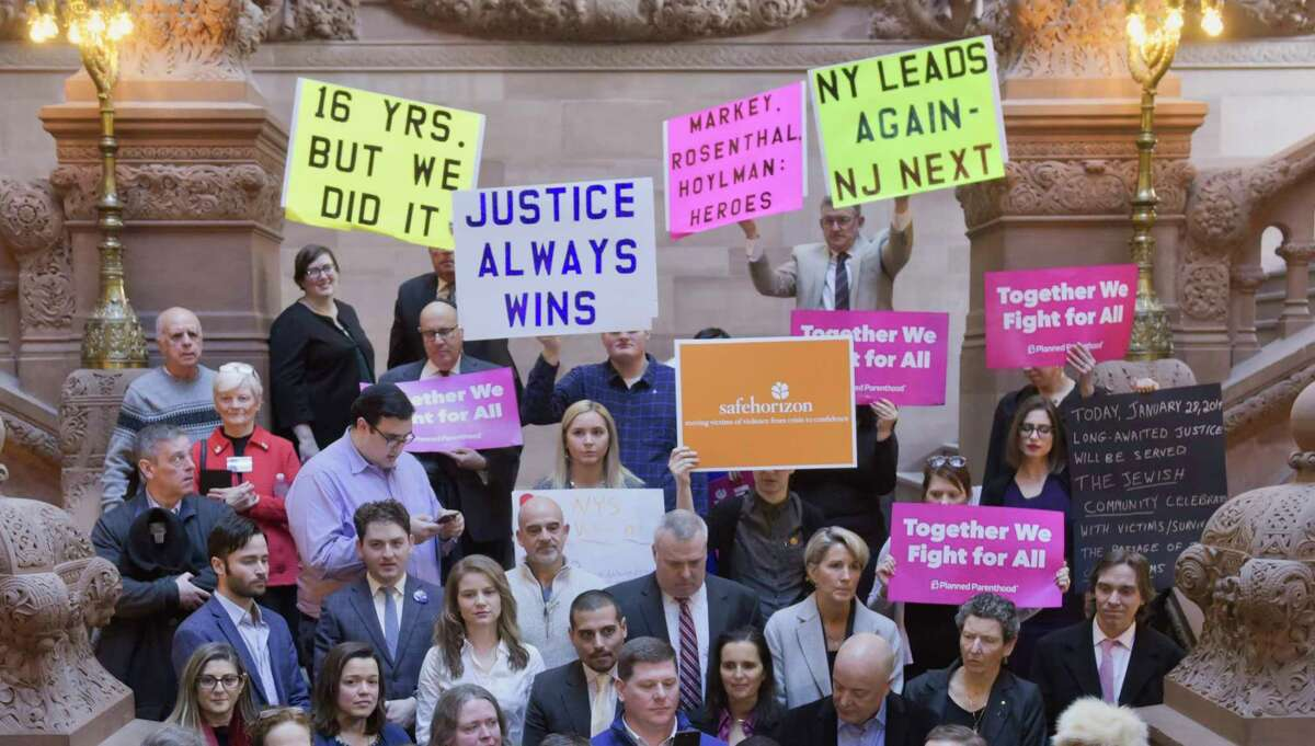 Child sex-abuse survivors and advocates take part in a press conference to celebrate the impending passage of the Child Victims Act, during an event at the Capitol on Monday, Jan. 28, 2019, in Albany, N.Y. (Paul Buckowski/Times Union)