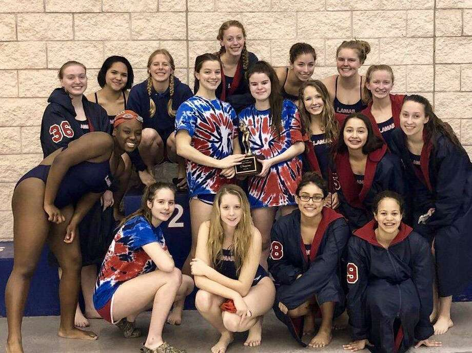 The Lamar High School girls swimming and diving won the District 16-6A championship Jan. 26 at LHS. The Texans scored 212 points, sweeping all three relays, to repeat as meet champions. Photo: Lamar High School / Lamar High School
