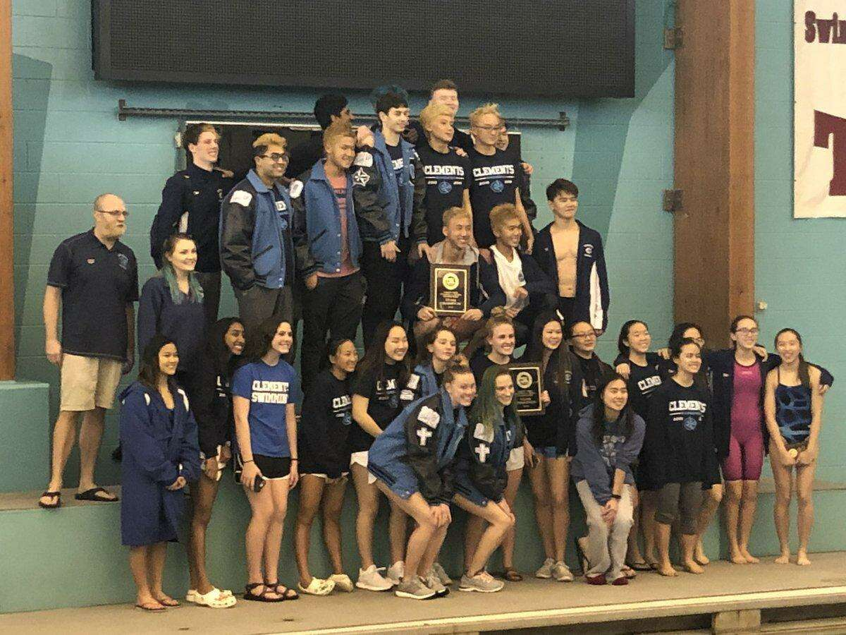 The Clements swimming and diving team won both the boys and girls championships at the District 20-6A meet Jan. 26 at Don Cook Natatorium. The Rangers scored 174 points to lead the girls standings and 161 for the boys team victory as Ridge Point was the runner-up in both.