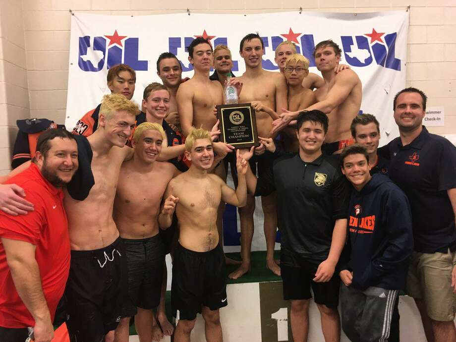 The Seven Lakes swimming and diving team won the boys District 19-6A championship Jan. 26 at Katy High School. The Spartans amassed 155 points to repeat their title, holding off Cinco Ranch (117) and Taylor (105). Photo: Seven Lakes High School / Seven Lakes High School