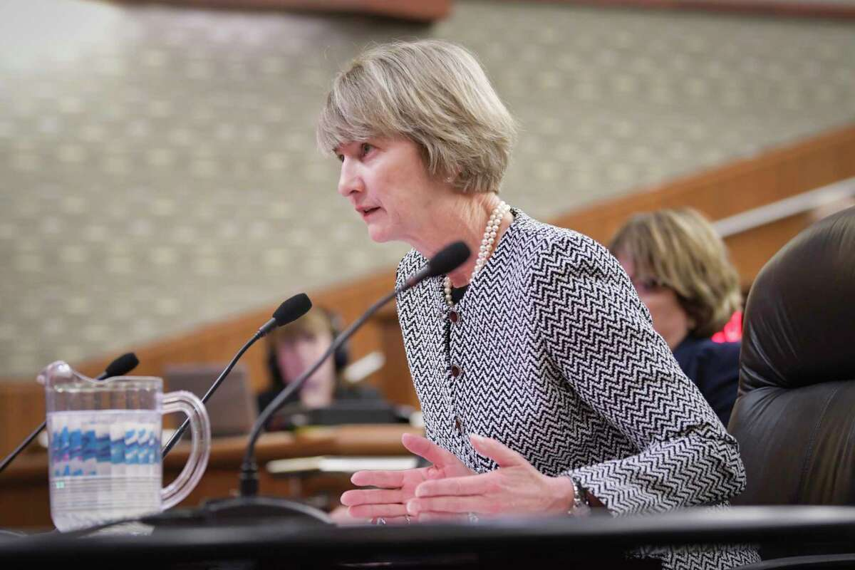 State University of New York Chancellor, Kristina Johnson, background center, testifies before the New York State Legislature joint budget hearing on higher education on Monday, Jan. 28, 2019, in Albany, N.Y. (Paul Buckowski/Times Union)