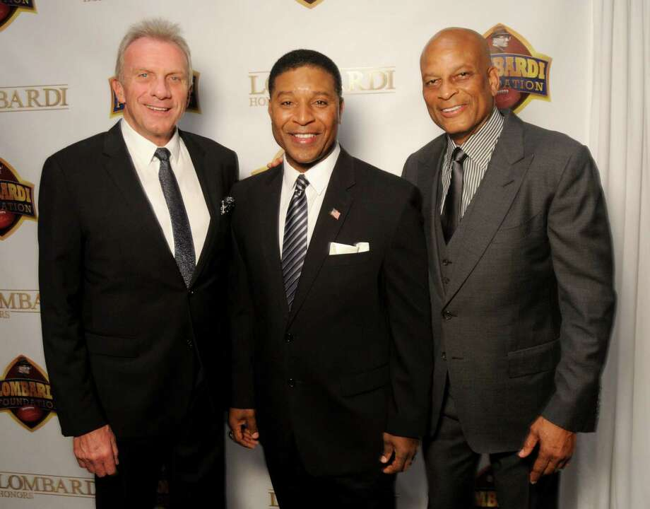Joe Montana, Spencer Tillman and Ronnie Lott at the Gridiron Greats Gala benefiting the Lombardi Foundation at the Post Oak Hotel Friday Jan.25, 2019. Photo: Dave Rossman, Contributor / 2019 Dave Rossman
