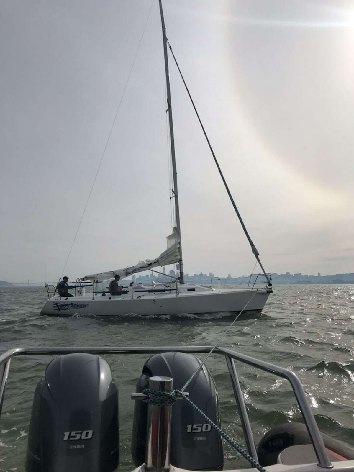 A view of the Jam Session J105 after it hit a whale during the Three Bridge Fiasco race on Saturday, Jan. 26, 2019.