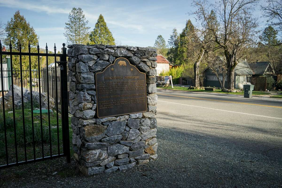 A stone plaque honors amateur astronomer, George Madeira, who built California's first astronomical observatory in Volcano, in Amador County, Calif., on Wednesday, January 23, 2019.