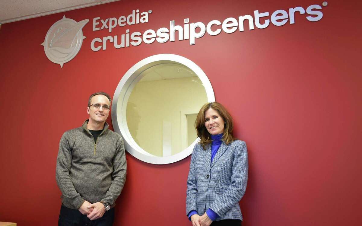 Jim and Mary Villamana on Jan. 21, 2019, at their newly opened Expedia CruiseShipCenters travel agency located at 67 Federal Road in Brookfield, Conn.