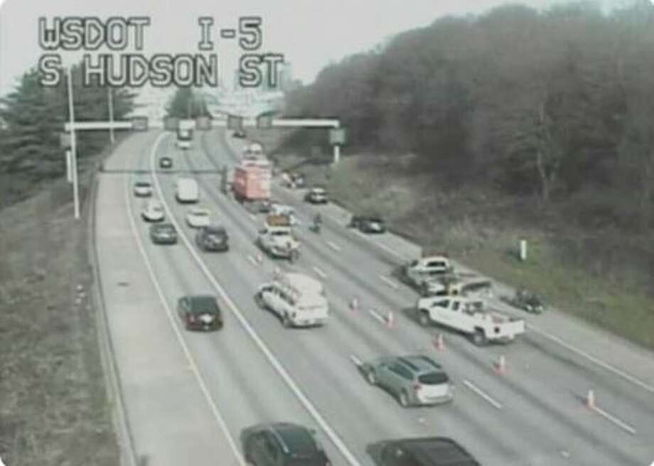 A crash involving several vehicles blocked traffic on northbound I-5 in Seattle. Several people were injured and one person had to be extricated. All injuries were non-life threatening. Photo: Courtesy WSDOT