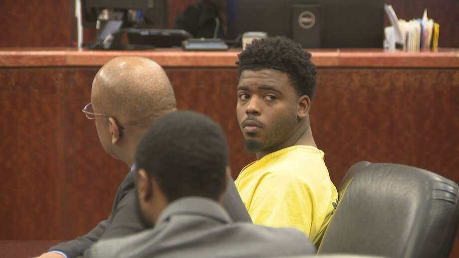 Eric Black Jr., right, appears in court with his attorney Alvin Nunnery, left, on Monday. Photo: By Brian Rogers