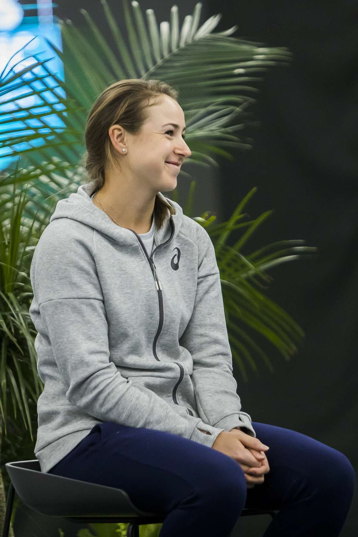 Rebecca Peterson of Sweden is introduced during a press conference as part of the Dow Tennis Classic on Monday, Jan. 28, 2019 at the Greater Midland Tennis Center. (Katy Kildee/kkildee@mdn.net)