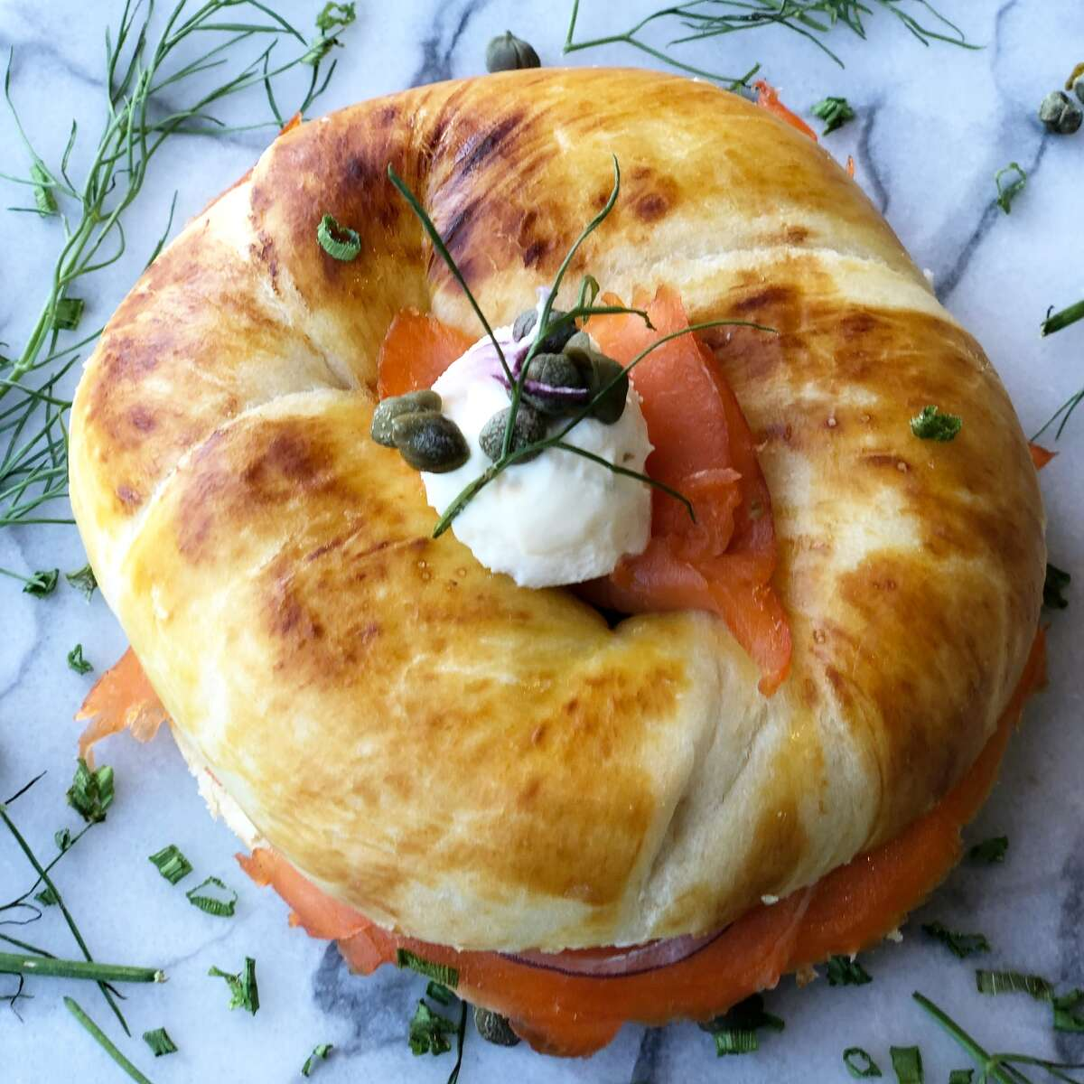 Smoked salmon simit at The Roastery Coffee Kitchen opening its second location in the new H-E-B in the Heights, 2300 N. Shepherd, on Jan. 30.