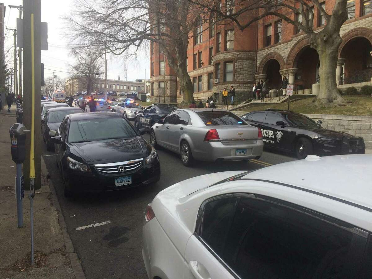 There is a heavy local and State Police presence at the Golden Hill courthouse in downtown Bridgeport after a disruption broke out on Monday, Jan. 28, 2019. About two dozen police vehicles lined on Golden Hill Street.