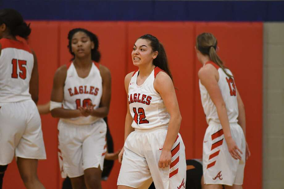 Atascocita Lady Eagles senior guard Brittney Stafford shows off her game face after making a play against Dobie during their District 22-6A matchup at Atascocita High School on Jan. 25, 2019. Photo: Jerry Baker, Houston Chronicle / Contributor / Houston Chronicle
