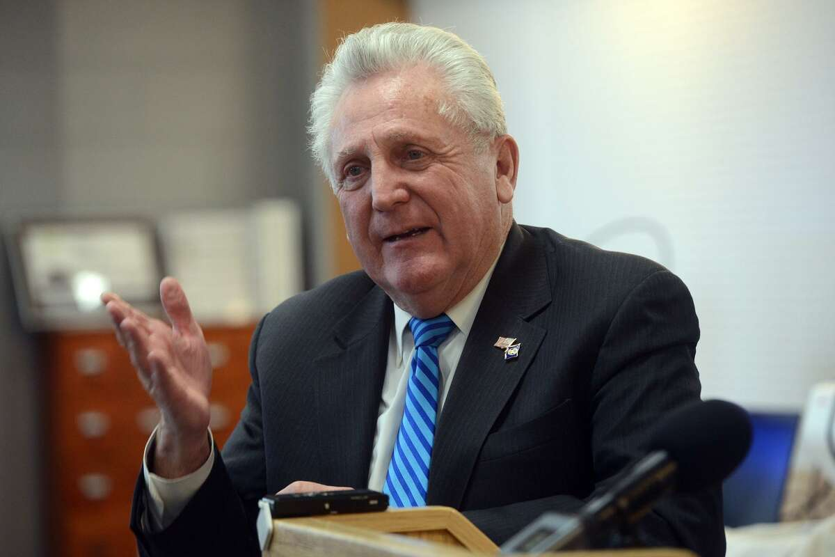Mayor Harry Rilling speaks during a press conference at the Norwalk Public Library, in Norwalk, Conn. Jan. 28, 2019.