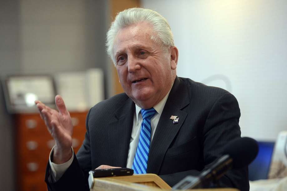 Mayor Harry Rilling speaks during a press conference at the Norwalk Public Library, in Norwalk, Conn. Jan. 28, 2019. Photo: Ned Gerard / Hearst Connecticut Media / Connecticut Post