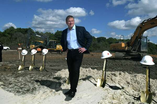Tilman Fertitta, Chairman of the Board for the Houston Police Foundation, checks out the lay of the land during the groundbreaking ceremony for the Tilman Fertitta Family Tactical Training Center in Houston on Jan. 28, 2019.