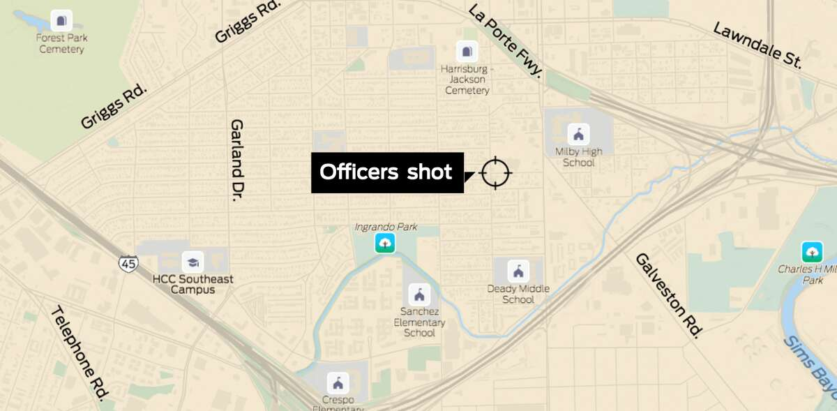 Google Maps image of the southeast side of Houston, where authorities say officers were shot.