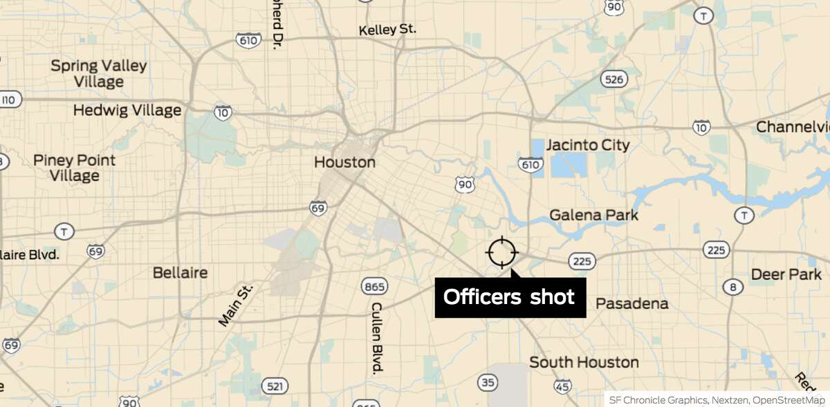 The location of the 7800 block of Harding Street, near the scene where several HPD officers were shot Monday.
