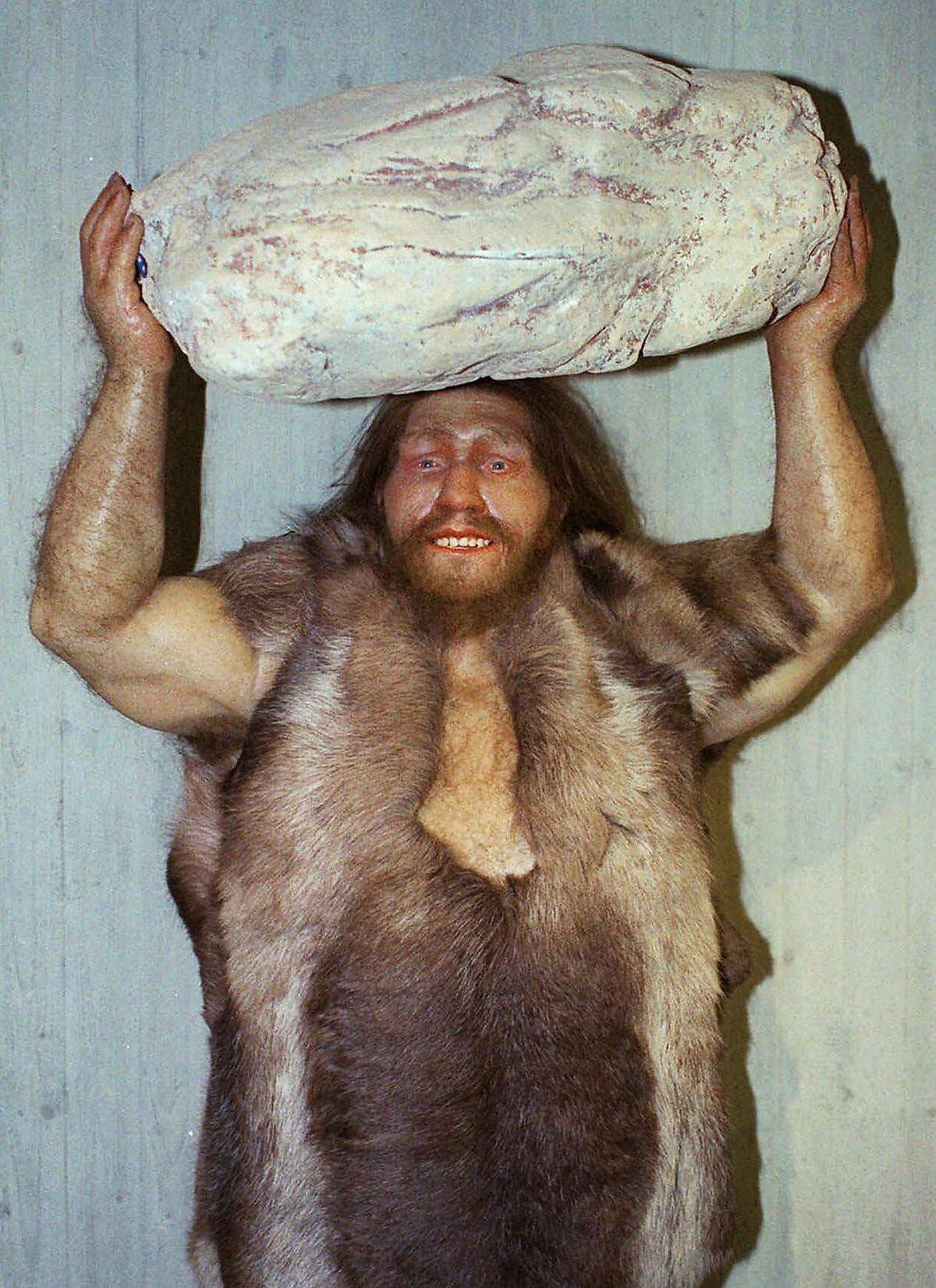 FILE - This Oct. 1996 file photo shows a replica of a Neanderthal man at the Neanderthal museum in Mettmann, western Germany. Next time you call someone a Neanderthal, better look in a mirror. Much of the genes that help determine most people's skin and hair are much more Neanderthal than not, according to two new studies that look at the DNA fossils hidden in the modern human genome. Scientists isolated the parts of the non-African modern human genetic blueprint that still contain Neanderthal remnants. Barely more than 1 percent comes from 50,000 years ago when modern humans leaving Africa mated with the soon-to-be-extinct Neanderthals. (AP Photo/Heinz Ducklau, File)