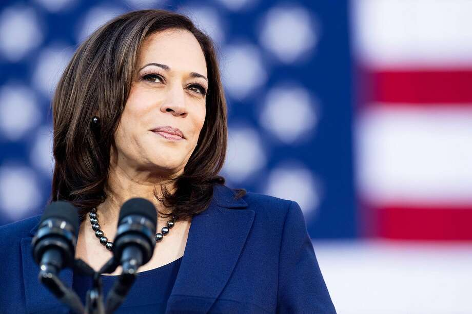 (FILES) In this file photo taken on January 27, 2019 California Senator Kamala Harris speaks during a rally launching her presidential campaign in Oakland, California. - US Senator Kamala Harris faces questions from American voters January 28, 2019 as an official White House candidate, a day after formally declaring her 2020 bid to become America's first black female president.By launching her campaign early -- a year before any primary votes are cast -- the California Democrat leapfrogs several party luminaries waiting in the wings, and a few who have already entered the race, to become the de facto frontrunner in a burgeoning field that may ultimately feature dozens of candidates seeking to oust President Donald Trump. (Photo by NOAH BERGER / AFP)NOAH BERGER/AFP/Getty Images Photo: Noah Berger, AFP/Getty Images