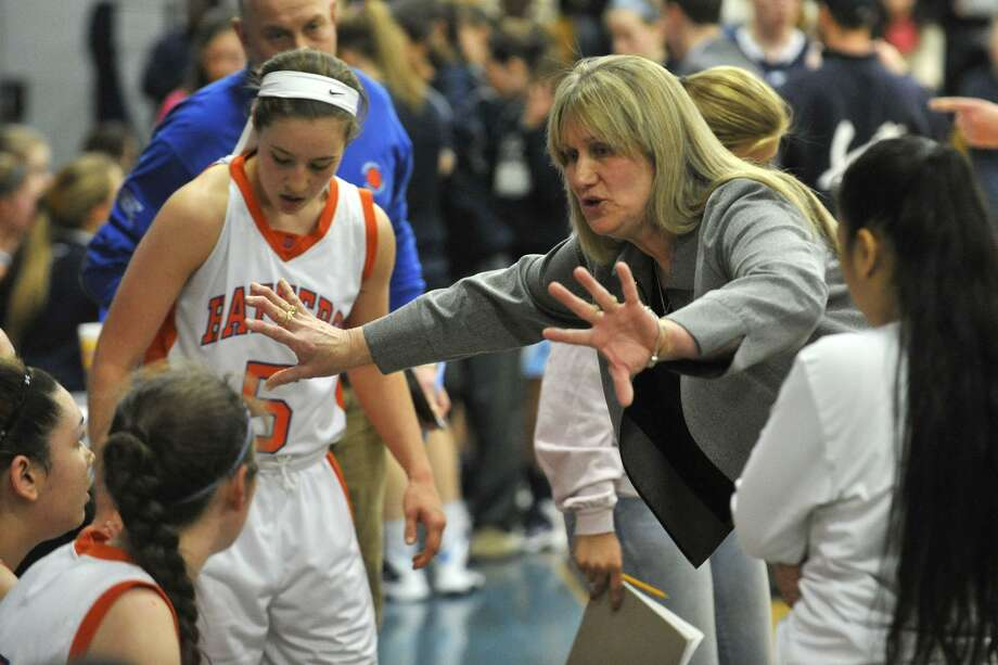 Danbury head coach Jackie DiNardo is on the cusp of becoming the first female Connecticut coach to win 500 girls basketball games. Photo: Jason Rearick / Jason Rearick / Stamford Advocate