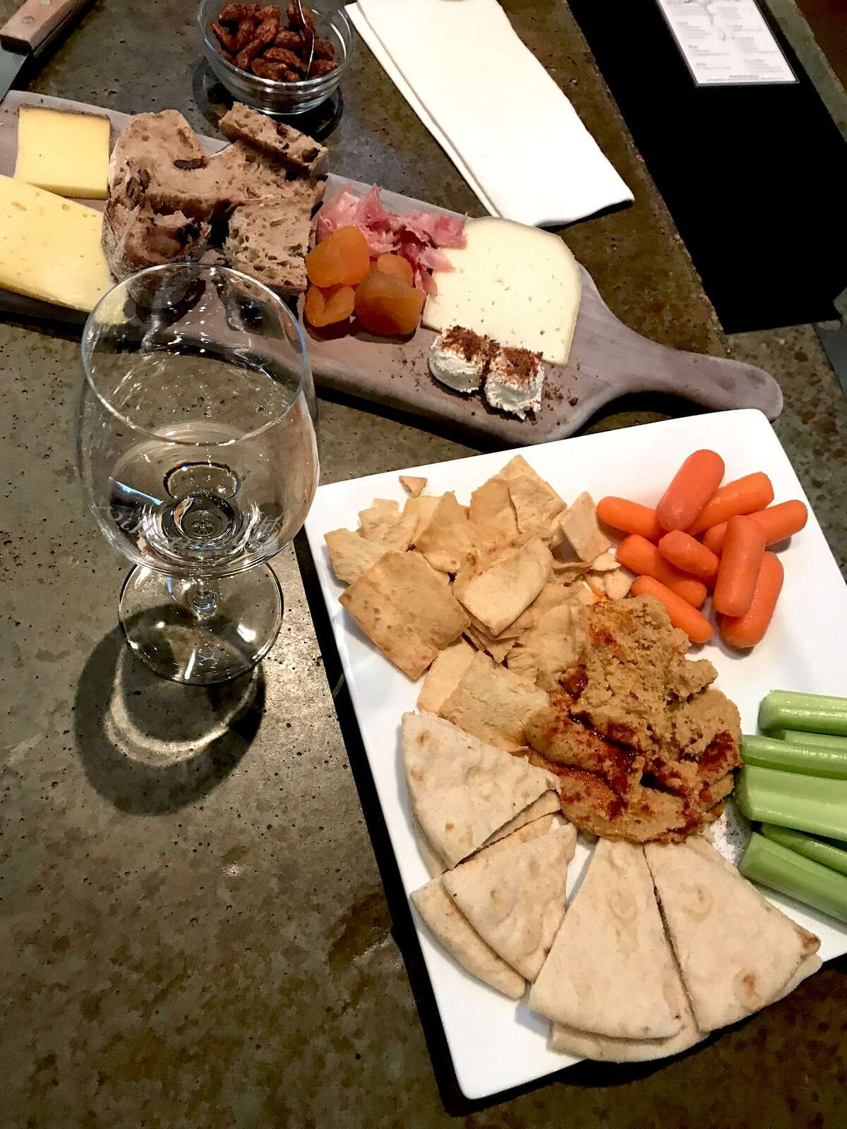William Chris Vineyards has a small selection of bites, including a cheese plate and a homemade hummus.