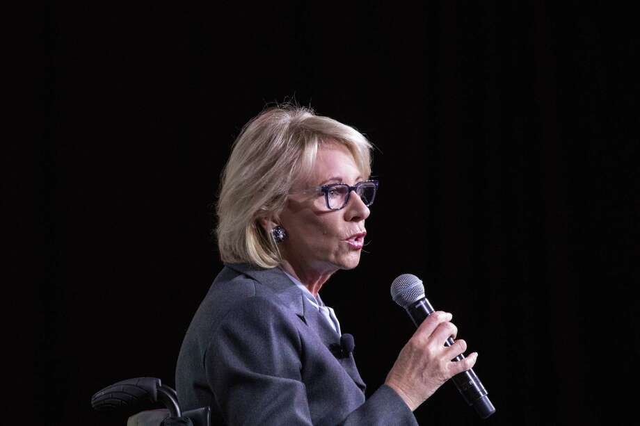Secretary of Education Betsy DeVos speaks during the U.S. Conference of Mayors Annual Winter Meeting in Washington, D.C., on Thursday. Photo: Bloomberg Photo By Alex Wroblewski / Bloomberg