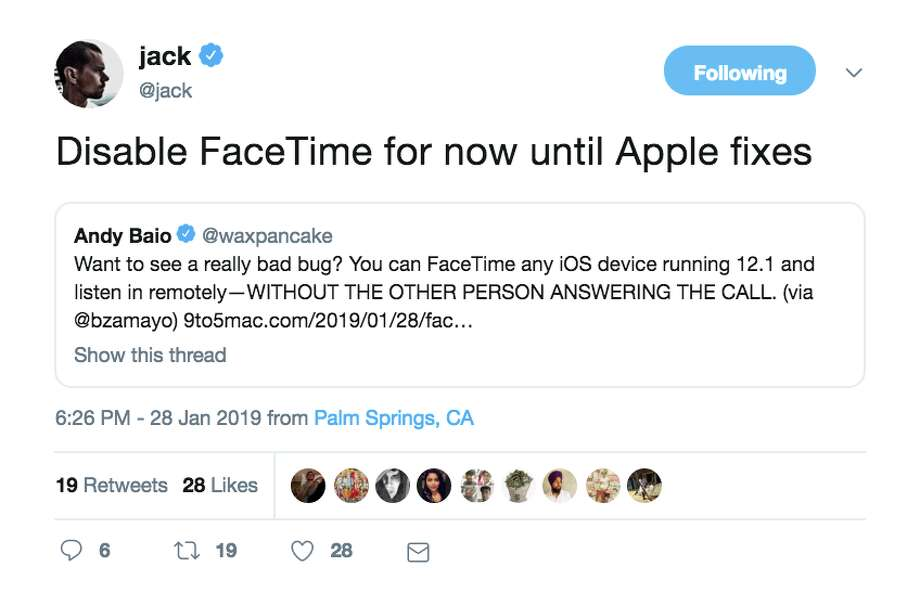 Twitter users were not happy with Apple's Facetime bug. Photo: Twitter Screencap