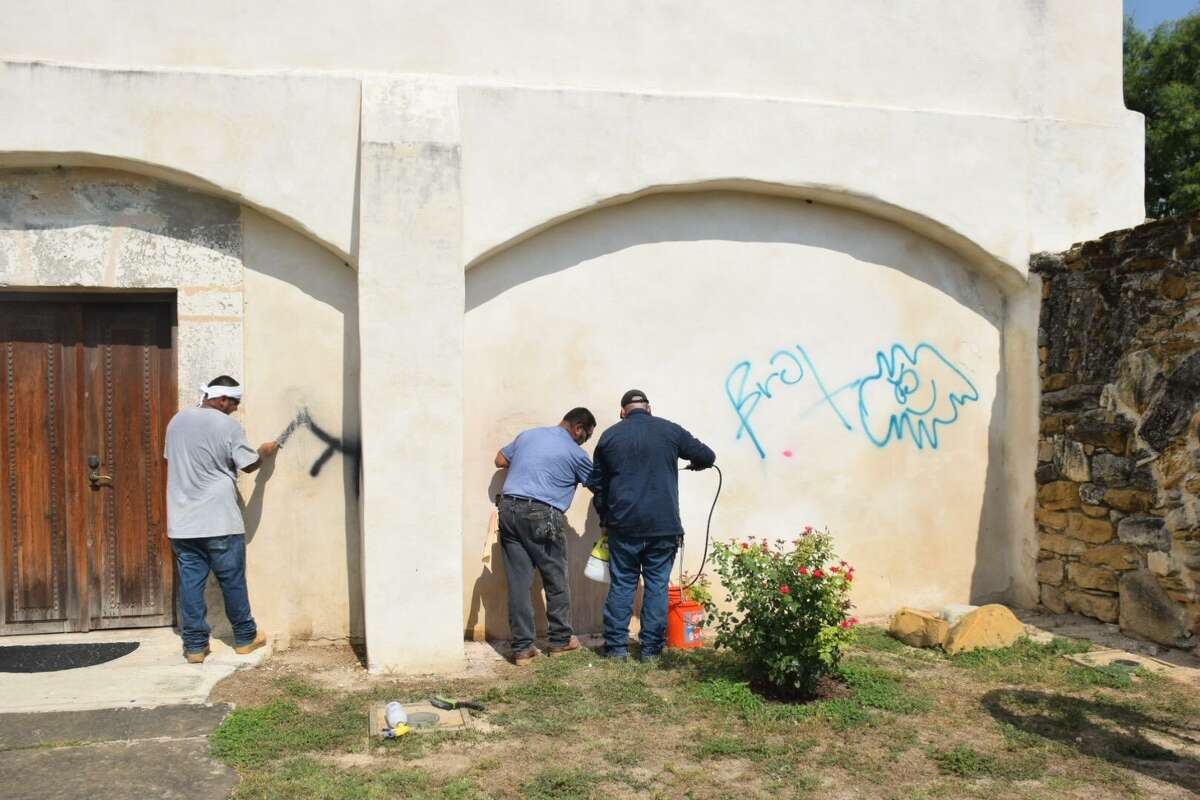 'I don't care. Do you?' vandals wrote at Mission San Juan on Friday, June 22, 2018.