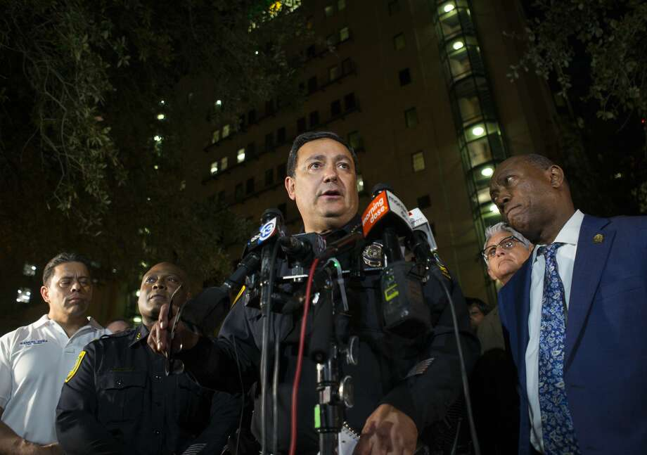 "Houston Police Department Chief Art Acevedo told reporters on Thursday that police union president Joe Gamaldi went ""over the top"" with his comments about the officer-involved shooting on Monday. Photo: Mark Mulligan/Staff Photographer"