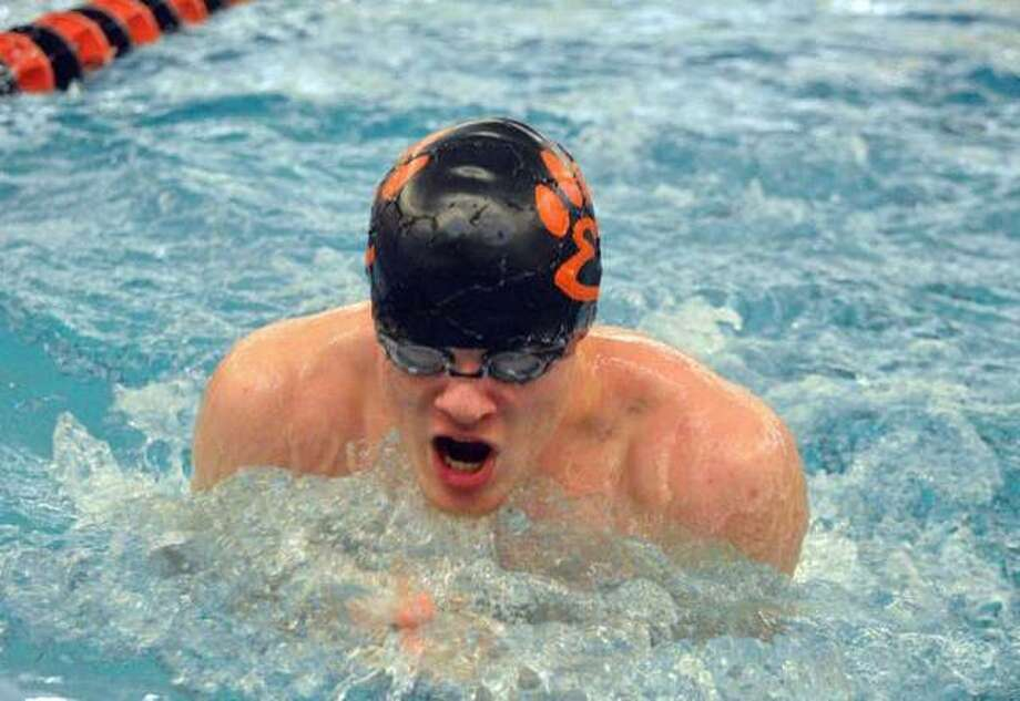 Edwardsville junior McLain Oertle competes in the 200-yard medley relay during the Iron Invite on Jan. 5 at Normal Community High School. Photo: Scott Marion/Intelligencer