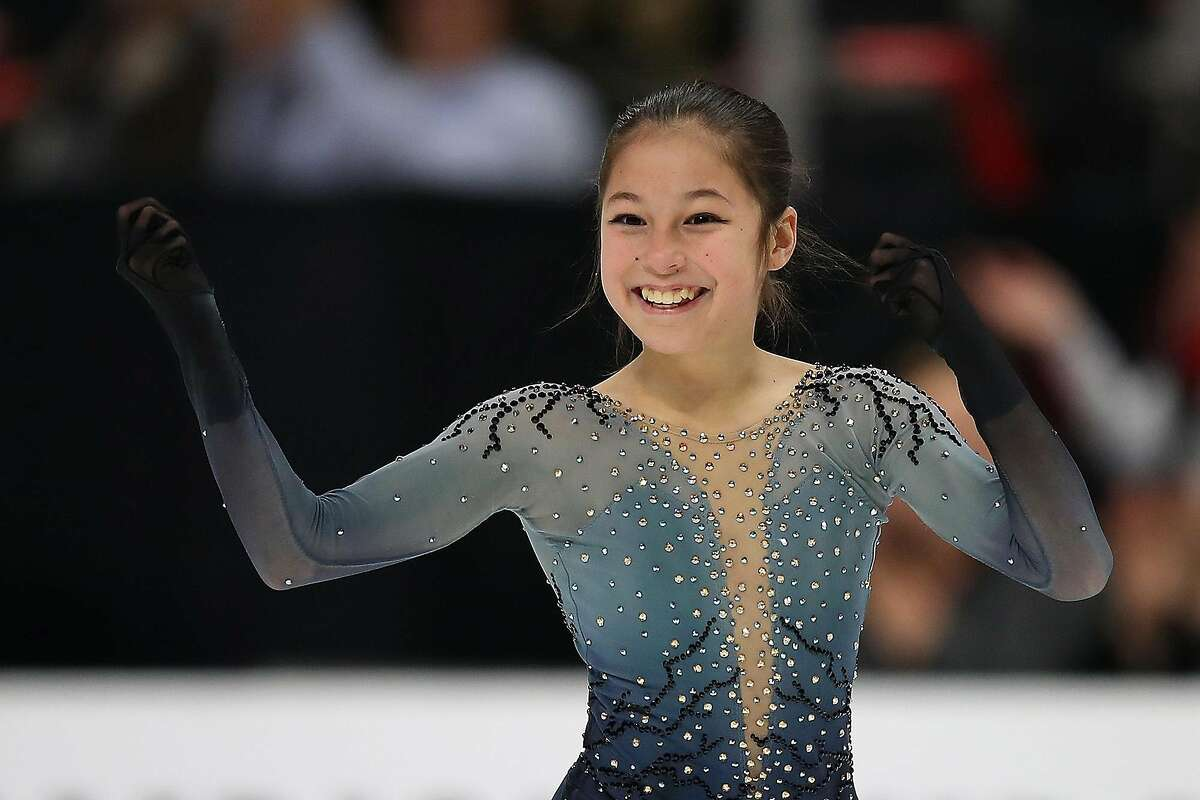 Alysa Liu reacts after completing her Championship Ladies Free Skate during the U.S. Figure Skating Championships at Little Caesars Arena in Detroit on January 25, 2019. **FOR USE WITH THIS STORY ONLY** (Gregory Shamus/Getty Images/TNS)