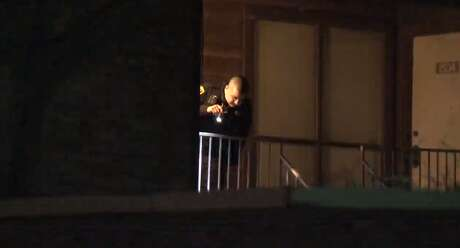 Houston police are investigating a homicide Tuesday morning at a southwest Houston apartment. Two men allegedly shot a man in the face while his girlfriend slept in a back bedroom, police said.