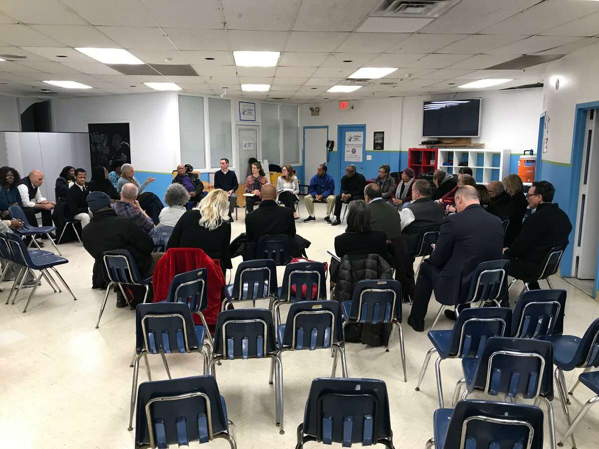 West Side residents and community leaders at a meeting at the Yerwood Center late Monday afternoon to discuss what kind of a new police chief Stamford should have.