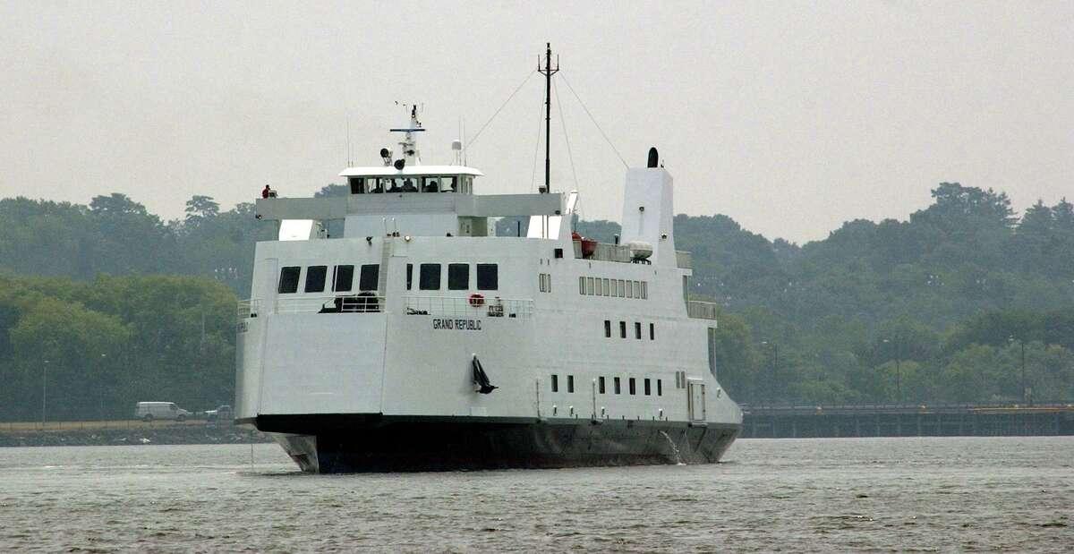 One of Bridgeport & Port Jefferson Steamboat Co. new ferrys in New Haven harbor.